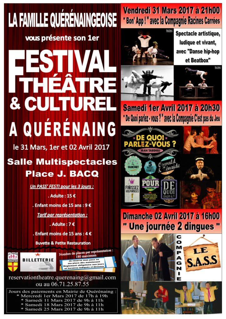 Affiche Festival Théâtre et Culturel 2017 sur Quérénaing